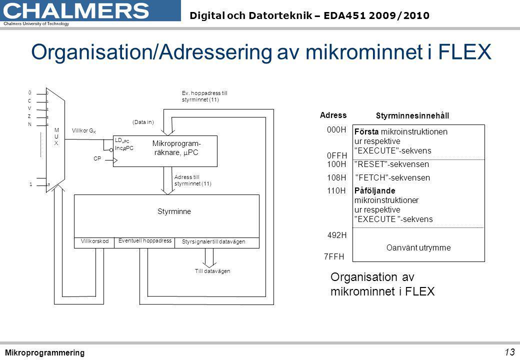 Digital och Datorteknik – EDA451 2009/2010 Organisation/Adressering av mikrominnet i FLEX 13 Mikroprogrammering CP LD  PC Inc  PC Mikroprogram- räknare,  PC Styrminne Adress till styrminnet (11) Styrsignaler till datavägen Eventuell hoppadress Villkorskod Till datavägen Ev.