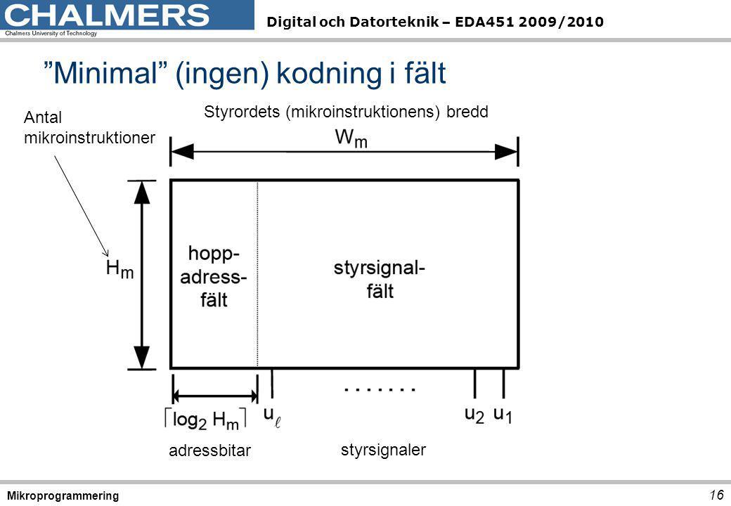 """Digital och Datorteknik – EDA451 2009/2010 """"Minimal"""" (ingen) kodning i fält 16 Mikroprogrammering Styrordets (mikroinstruktionens) bredd adressbitar s"""