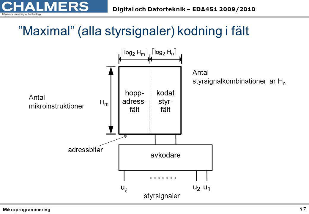 """Digital och Datorteknik – EDA451 2009/2010 """"Maximal"""" (alla styrsignaler) kodning i fält 17 Mikroprogrammering Antal styrsignalkombinationer är H n adr"""