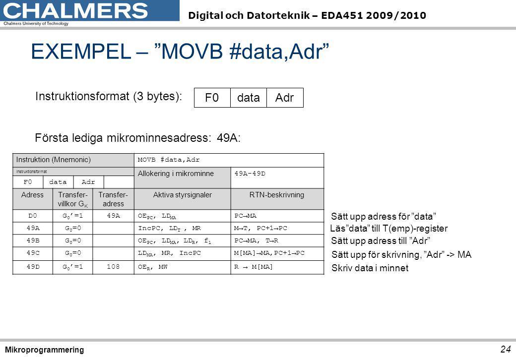 """Digital och Datorteknik – EDA451 2009/2010 EXEMPEL – """"MOVB #data,Adr"""" 24 Mikroprogrammering Första lediga mikrominnesadress: 49A: Instruktionsformat ("""