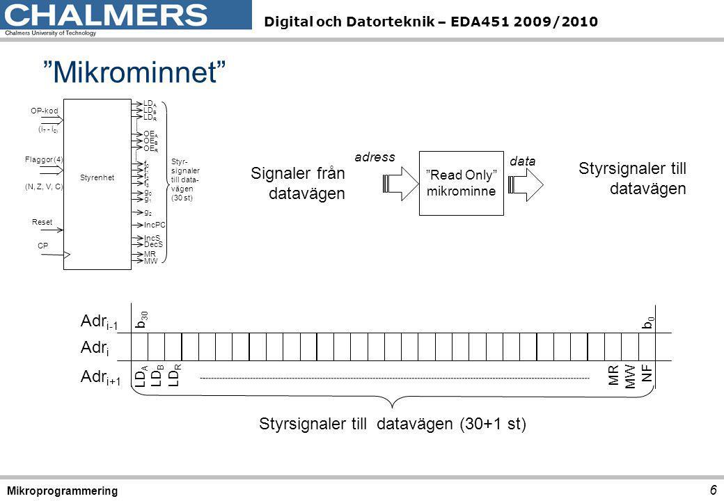 Digital och Datorteknik – EDA451 2009/2010 EXECUTE – DBEQ A, 27 Mikroprogrammering DBEQDecrement register and branch on equal Instruktion:DBEQ A,Adr RTN:A-1  A; if A = 0:PC+Offset  PC Flaggor:N: Ettställs om resultatets teckenbit (bit 7) får värdet 1.