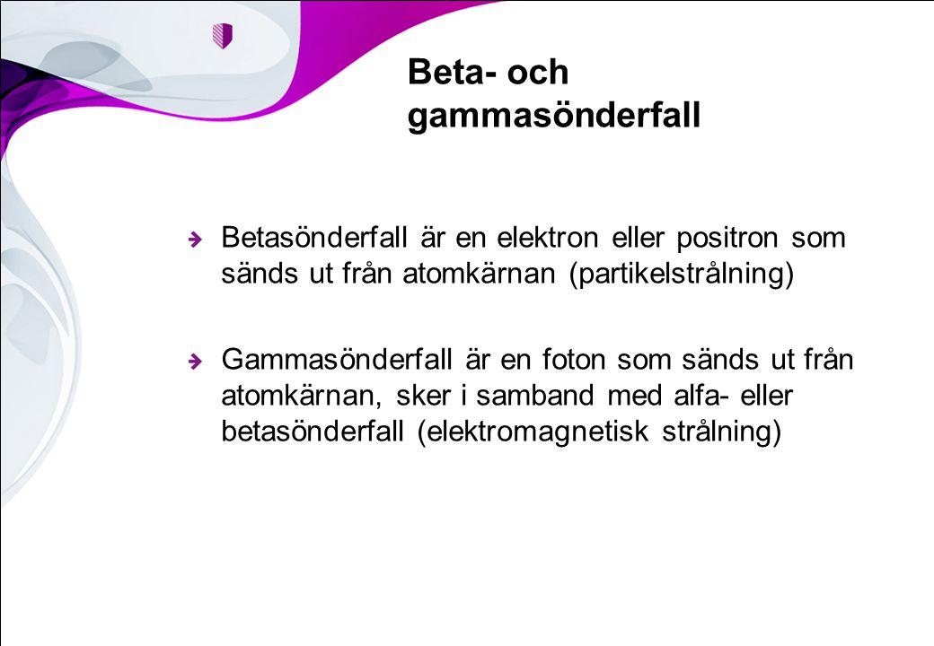 Beta- och gammasönderfall Betasönderfall är en elektron eller positron som sänds ut från atomkärnan (partikelstrålning) Gammasönderfall är en foton so