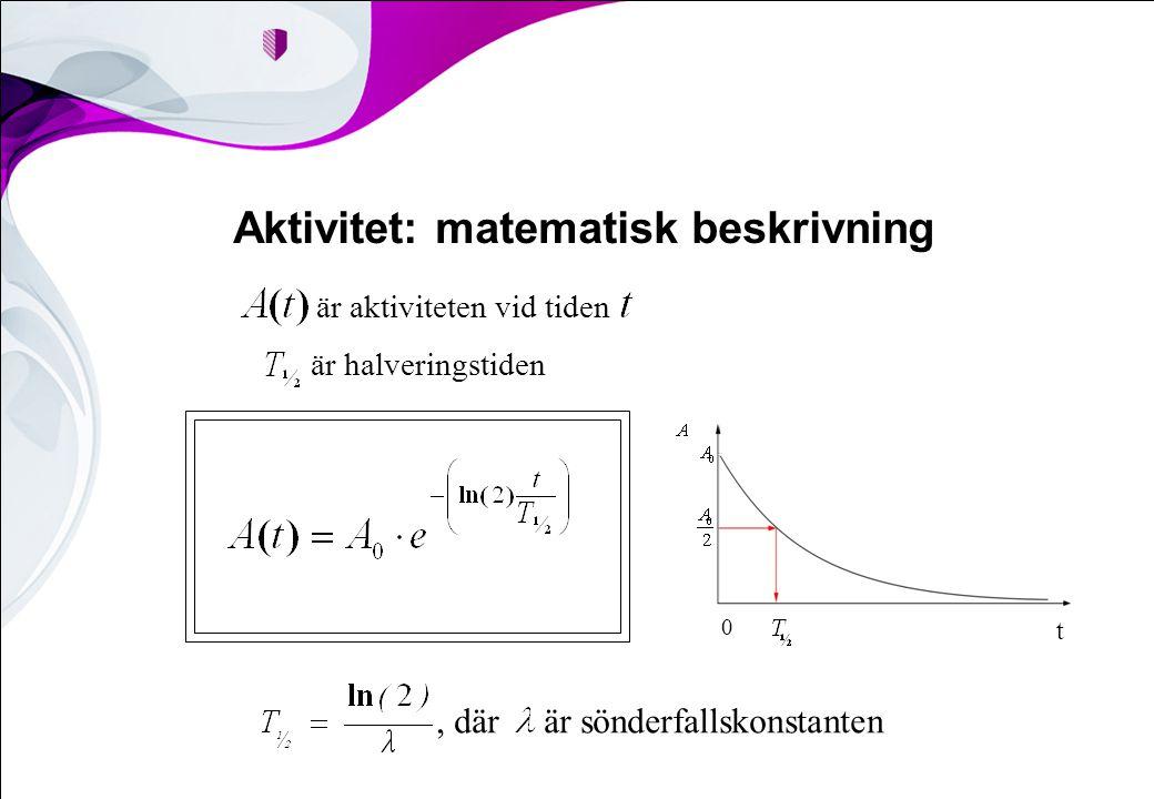 Aktivitet: matematisk beskrivning, där är sönderfallskonstanten är aktiviteten vid tiden är halveringstiden t 0