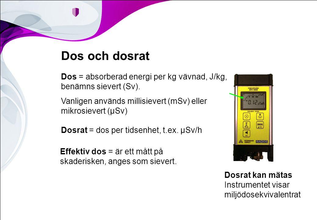 Dos och dosrat Dos = absorberad energi per kg vävnad, J/kg, benämns sievert (Sv). Vanligen används millisievert (mSv) eller mikrosievert (µSv) Dosrat