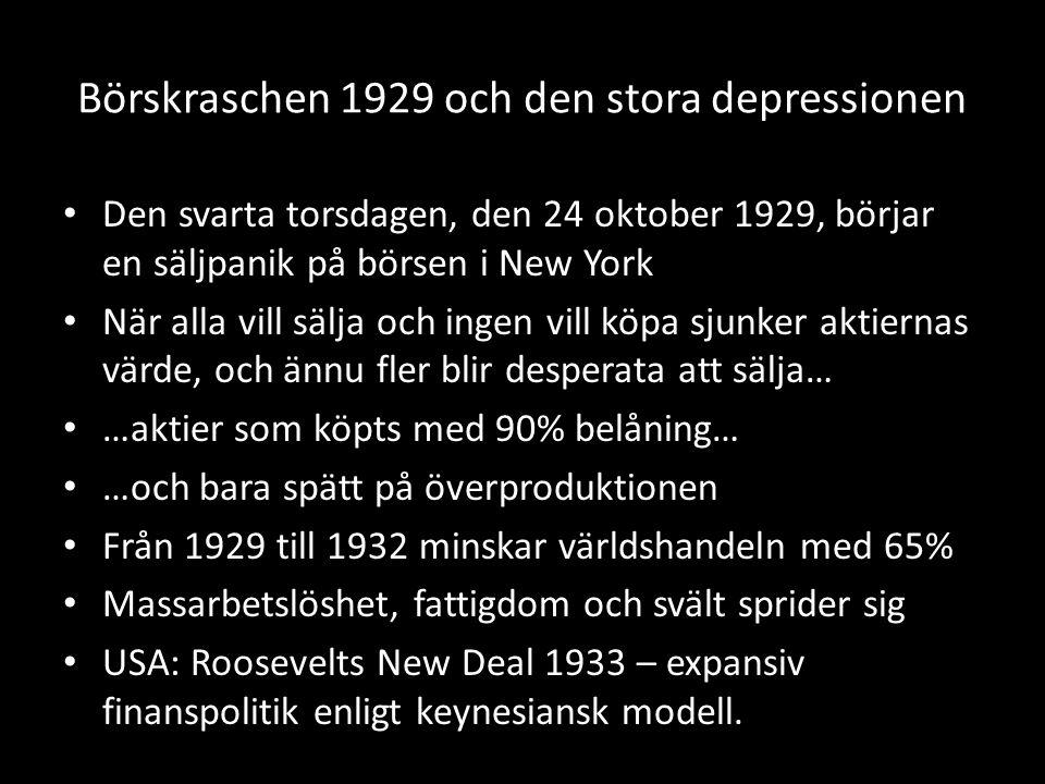 Börskraschen 1929 och den stora depressionen Den svarta torsdagen, den 24 oktober 1929, börjar en säljpanik på börsen i New York När alla vill sälja och ingen vill köpa sjunker aktiernas värde, och ännu fler blir desperata att sälja… …aktier som köpts med 90% belåning… …och bara spätt på överproduktionen Från 1929 till 1932 minskar världshandeln med 65% Massarbetslöshet, fattigdom och svält sprider sig USA: Roosevelts New Deal 1933 – expansiv finanspolitik enligt keynesiansk modell.