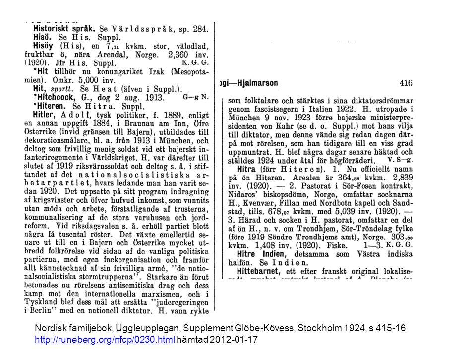 Nordisk familjebok, Uggleupplagan, Supplement Glöbe-Kövess, Stockholm 1924, s 415-16 http://runeberg.org/nfcp/0230.html hämtad 2012-01-17 http://runeberg.org/nfcp/0230.html