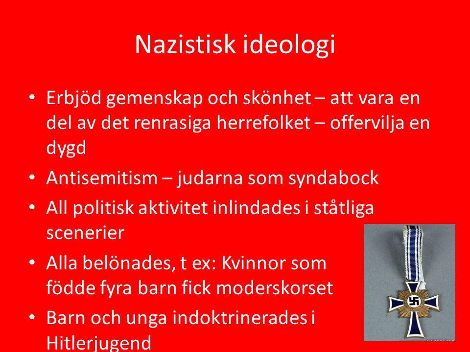 Nazistisk ideologi Erbjöd gemenskap och skönhet – att vara en del av det renrasiga herrefolket – offervilja en dygd Antisemitism – judarna som syndabo