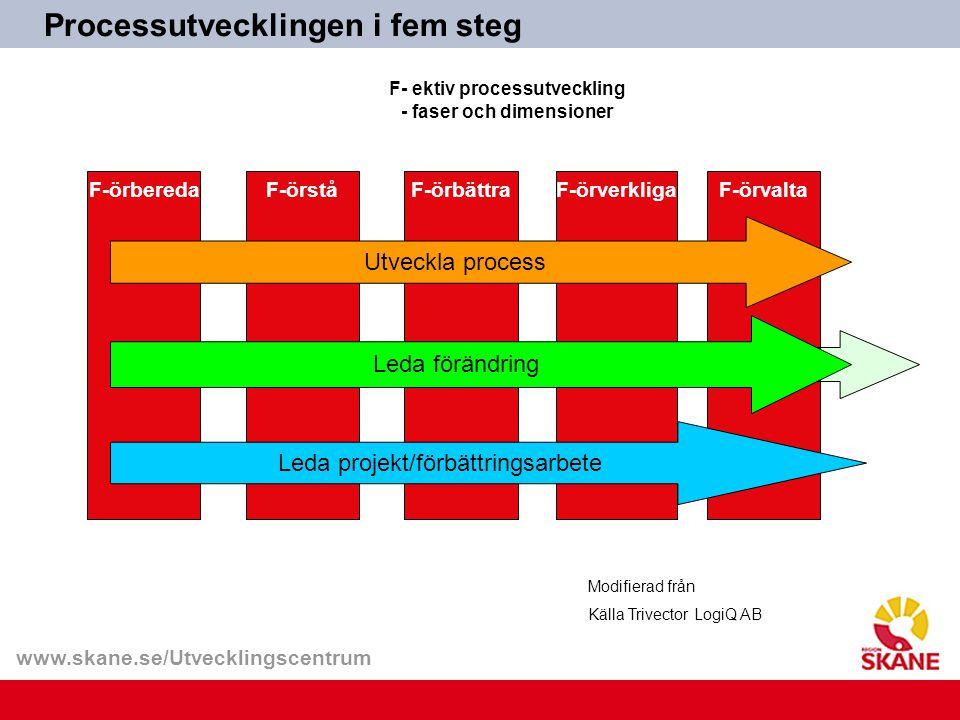 www.skane.se/Utvecklingscentrum F-örberedaF-örståF-örbättraF-örverkligaF-örvalta Utveckla process Leda förändring Leda projekt/förbättringsarbete Modi