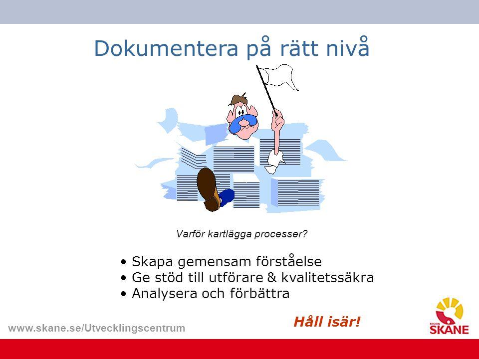 www.skane.se/Utvecklingscentrum Varför kartlägga processer? Dokumentera på rätt nivå Skapa gemensam förståelse Ge stöd till utförare & kvalitetssäkra