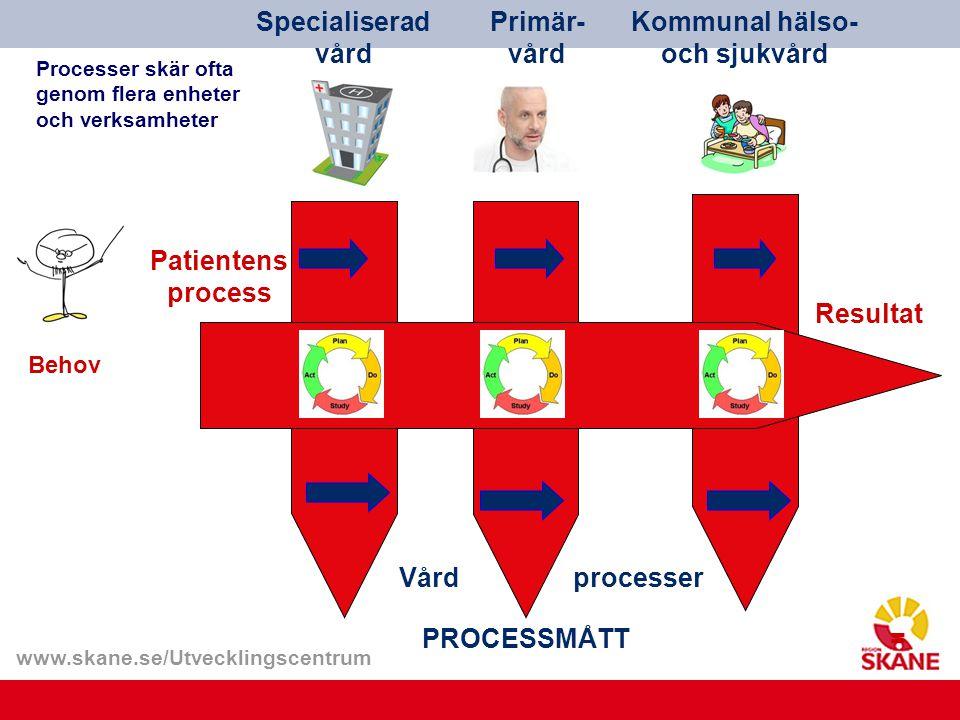 www.skane.se/Utvecklingscentrum Patientens process Specialiserad vård Primär- vård Kommunal hälso- och sjukvård Resultat Behov Vårdprocesser PROCESSMÅ