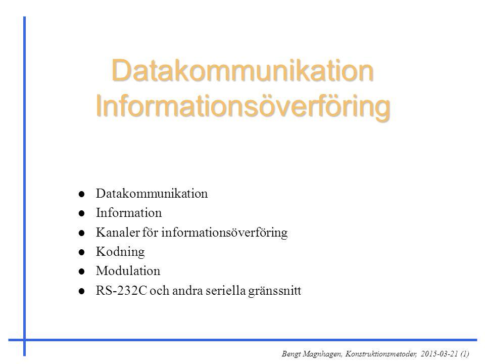 Bengt Magnhagen, Konstruktionsmetoder, 2015-03-21 (1) Datakommunikation Informationsöverföring l Datakommunikation l Information l Kanaler för informa