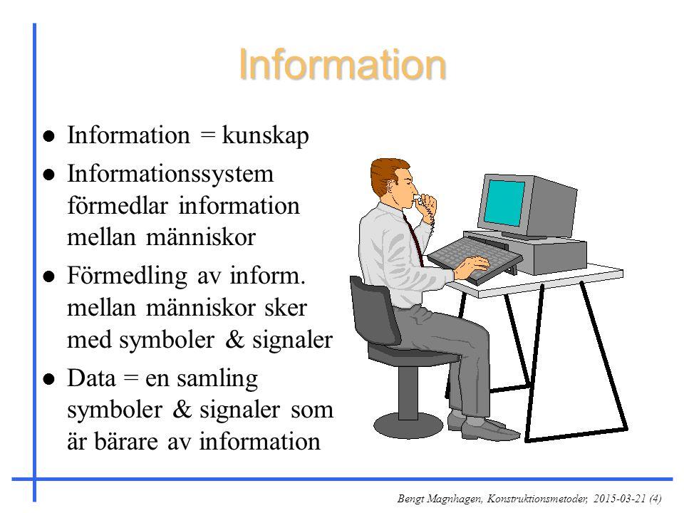 Bengt Magnhagen, Konstruktionsmetoder, 2015-03-21 (4) Information l Information = kunskap l Informationssystem förmedlar information mellan människor