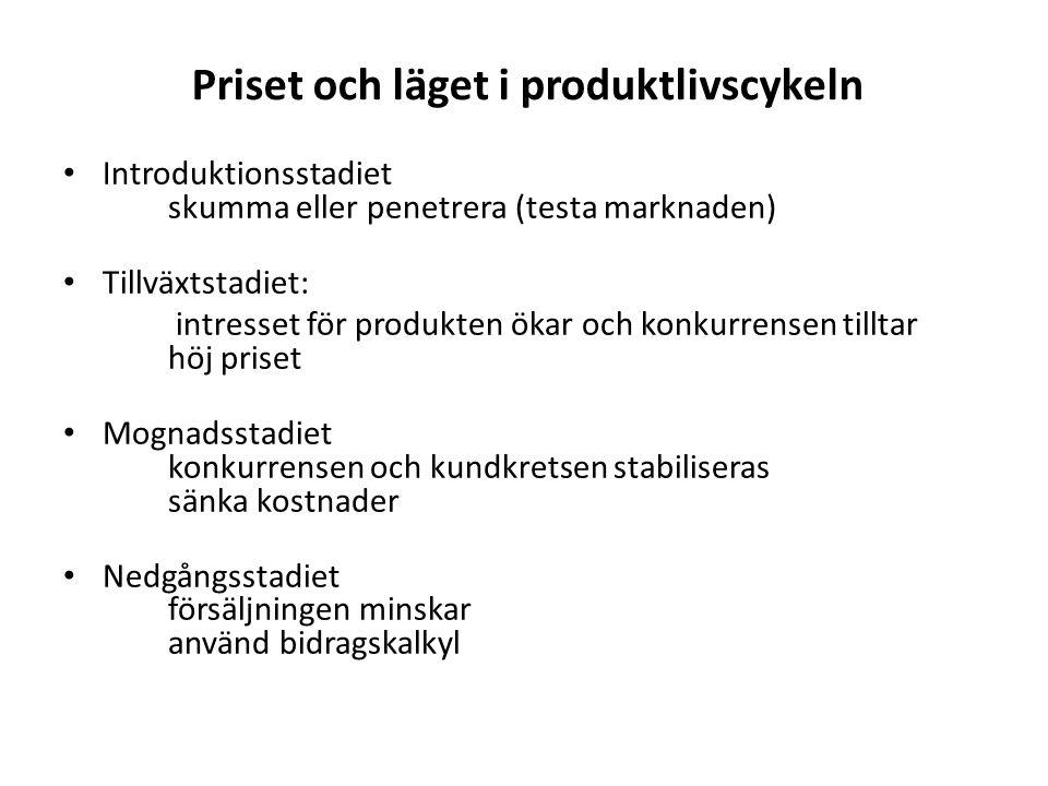 Priset och läget i produktlivscykeln Introduktionsstadiet skumma eller penetrera (testa marknaden) Tillväxtstadiet: intresset för produkten ökar och konkurrensen tilltar höj priset Mognadsstadiet konkurrensen och kundkretsen stabiliseras sänka kostnader Nedgångsstadiet försäljningen minskar använd bidragskalkyl