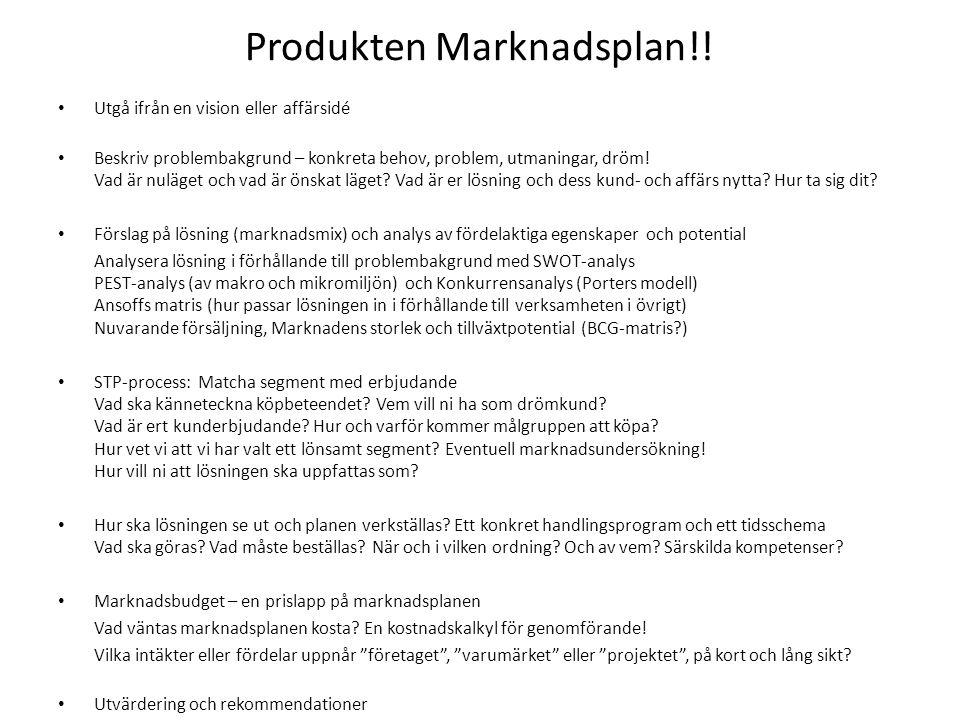 Produkten Marknadsplan!.