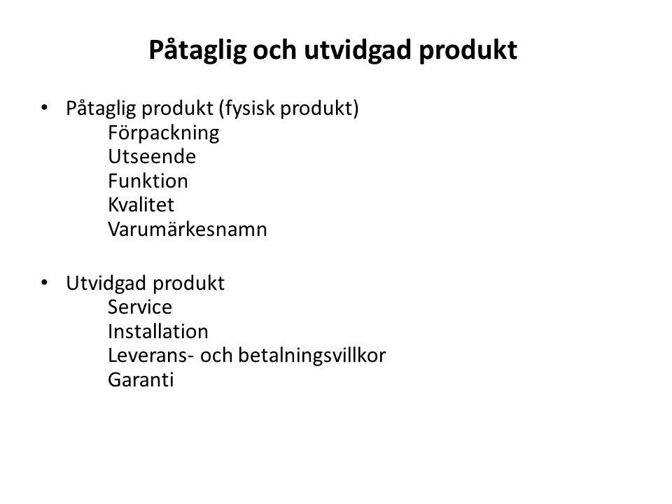 Påtaglig och utvidgad produkt Påtaglig produkt (fysisk produkt) Förpackning Utseende Funktion Kvalitet Varumärkesnamn Utvidgad produkt Service Installation Leverans- och betalningsvillkor Garanti