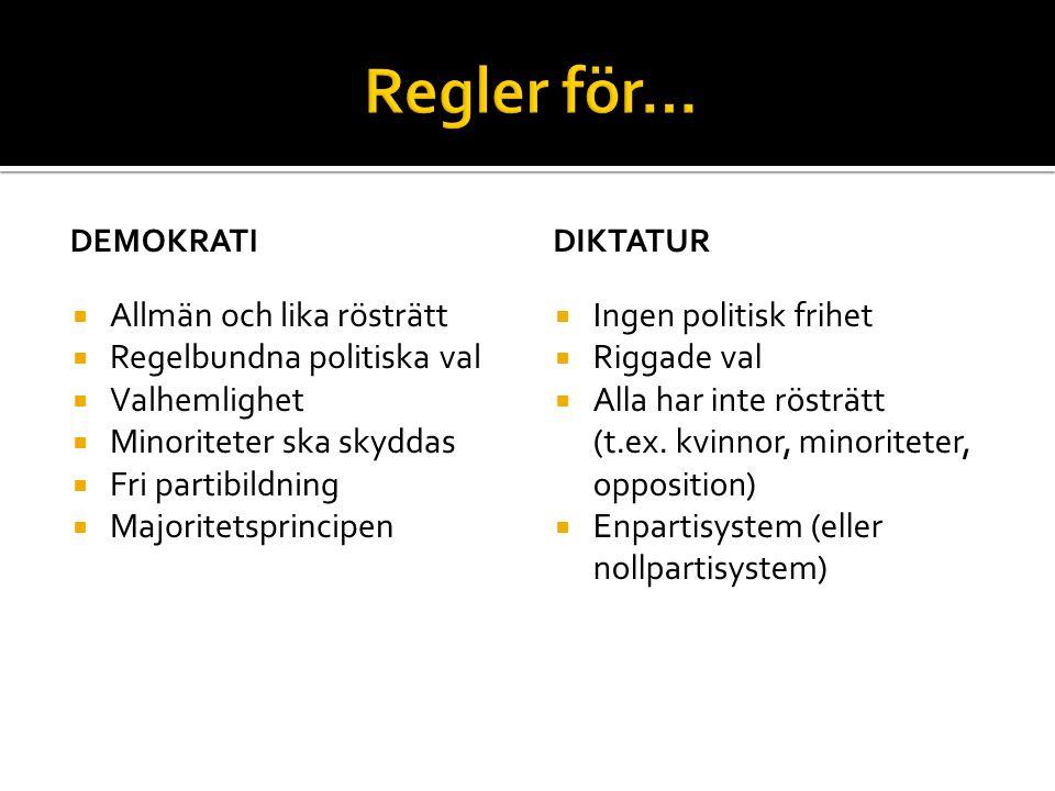 DEMOKRATI  Allmän och lika rösträtt  Regelbundna politiska val  Valhemlighet  Minoriteter ska skyddas  Fri partibildning  Majoritetsprincipen DI