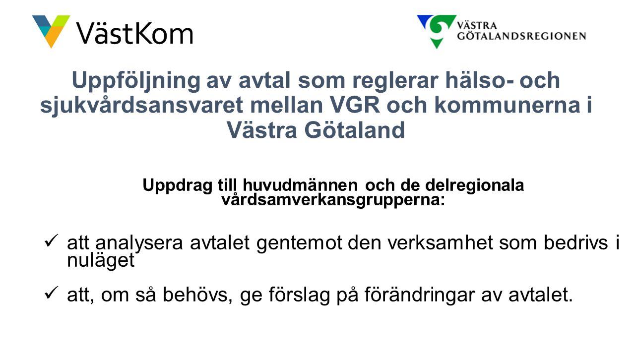 Uppföljning av avtal som reglerar hälso- och sjukvårdsansvaret mellan VGR och kommunerna i Västra Götaland Uppdrag till huvudmännen och de delregional