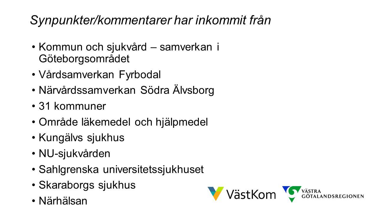 Resultat efter höstens arbete Kommun och sjukvård – samverkan i Göteborgsområdet Vårdsamverkan Fyrbodal Närvårdssamverkan Södra Älvsborg 31 kommuner O