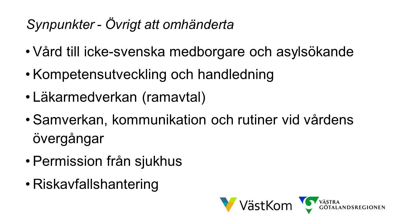 Resultat efter höstens arbete Vård till icke-svenska medborgare och asylsökande Kompetensutveckling och handledning Läkarmedverkan (ramavtal) Samverka