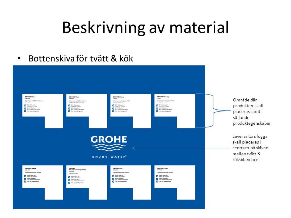 Beskrivning av material Bottenskiva för tvätt & kök Område där produkten skall placeras samt säljande produktegenskaper Leverantörs logga skall placeras i centrum på skivan mellan tvätt & köksblandare