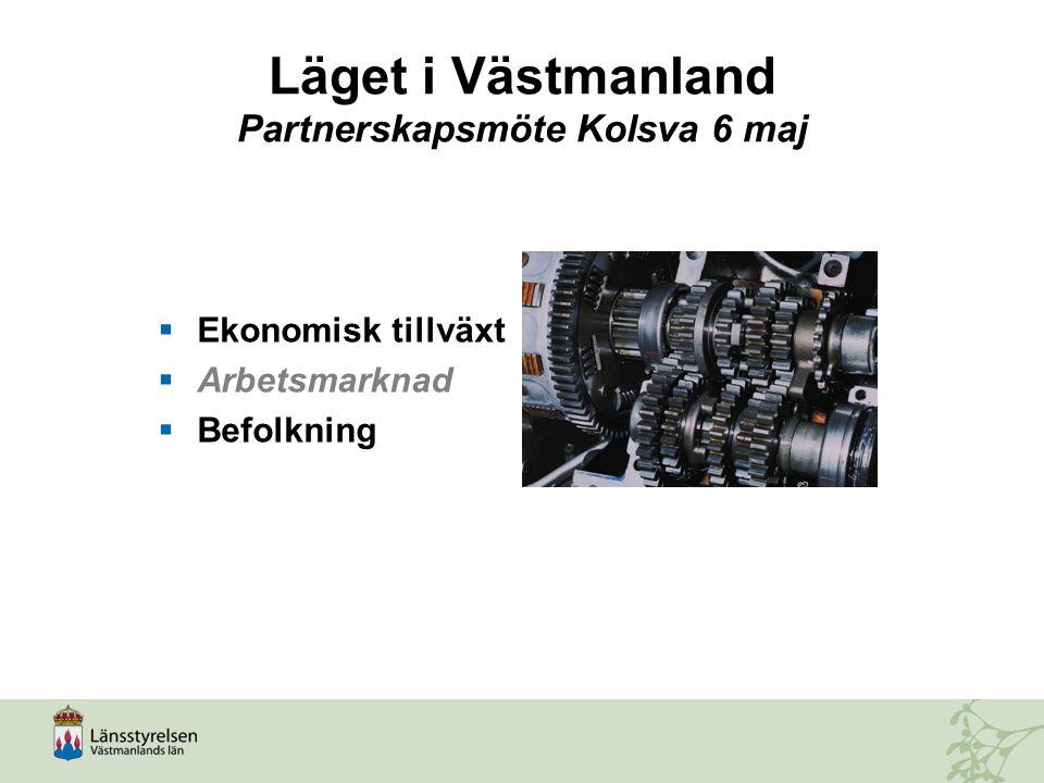 Läget i Västmanland Partnerskapsmöte Kolsva 6 maj  Ekonomisk tillväxt  Arbetsmarknad  Befolkning
