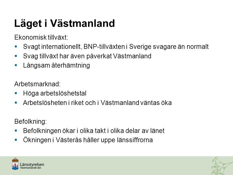 Efterfrågan på arbetskraft i Västmanland Sex månaders glidande medelvärde Källa: Arbetsförmedlingen, egna bearbetningar, data tom mars 2013