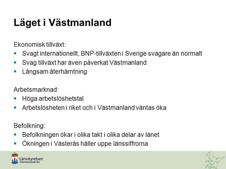 Läget i Västmanland Ekonomisk tillväxt:  Svagt internationellt, BNP-tillväxten i Sverige svagare än normalt  Svag tillväxt har även påverkat Västman