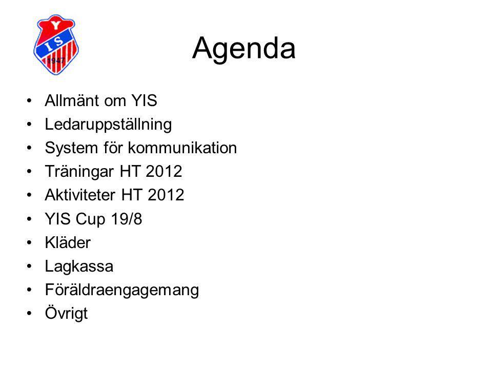 Agenda Allmänt om YIS Ledaruppställning System för kommunikation Träningar HT 2012 Aktiviteter HT 2012 YIS Cup 19/8 Kläder Lagkassa Föräldraengagemang Övrigt