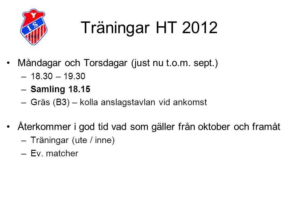 Träningar HT 2012 Måndagar och Torsdagar (just nu t.o.m.