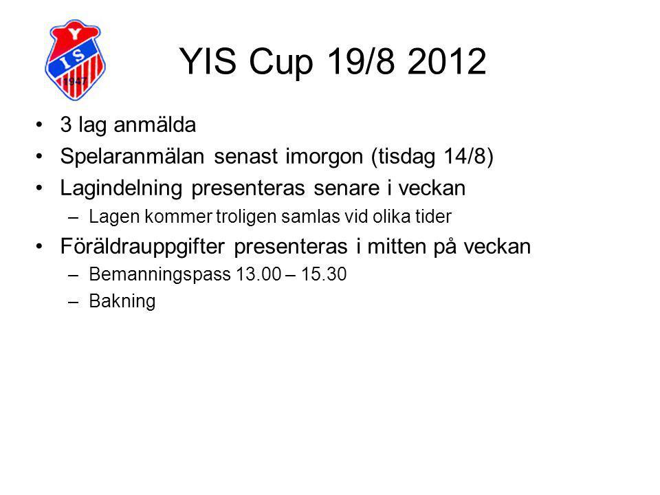 YIS Cup 19/8 2012 3 lag anmälda Spelaranmälan senast imorgon (tisdag 14/8) Lagindelning presenteras senare i veckan –Lagen kommer troligen samlas vid olika tider Föräldrauppgifter presenteras i mitten på veckan –Bemanningspass 13.00 – 15.30 –Bakning