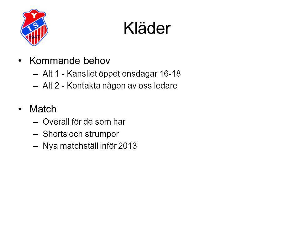 Kläder Kommande behov –Alt 1 - Kansliet öppet onsdagar 16-18 –Alt 2 - Kontakta någon av oss ledare Match –Overall för de som har –Shorts och strumpor –Nya matchställ inför 2013