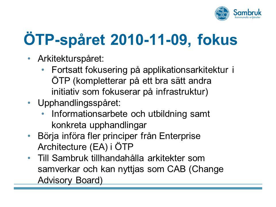 ÖTP-spåret 2010-11-09, fokus Arkitekturspåret: Fortsatt fokusering på applikationsarkitektur i ÖTP (kompletterar på ett bra sätt andra initiativ som fokuserar på infrastruktur) Upphandlingsspåret: Informationsarbete och utbildning samt konkreta upphandlingar Börja införa fler principer från Enterprise Architecture (EA) i ÖTP Till Sambruk tillhandahålla arkitekter som samverkar och kan nyttjas som CAB (Change Advisory Board)