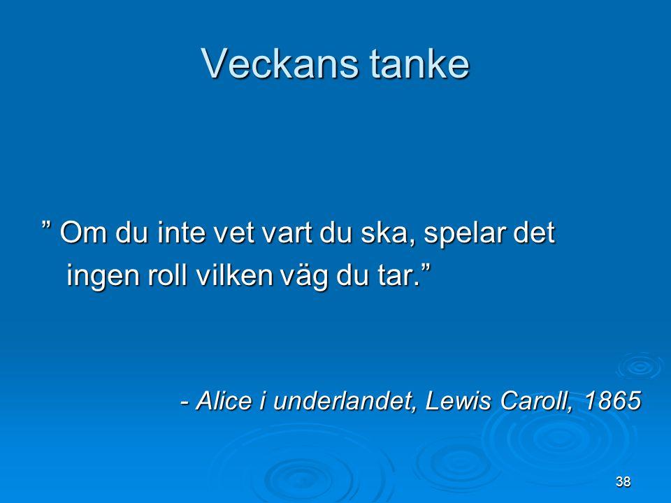 """Veckans tanke """" Om du inte vet vart du ska, spelar det ingen roll vilken väg du tar."""" - Alice i underlandet, Lewis Caroll, 1865 38"""