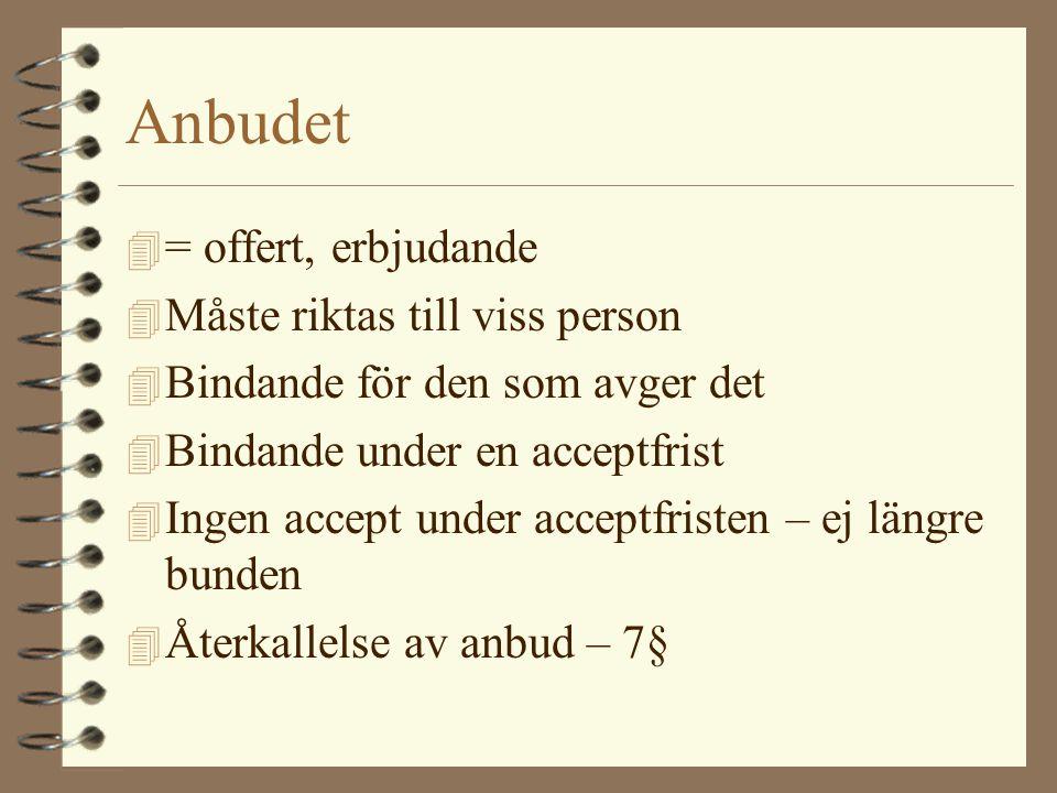 Anbudet 4 = offert, erbjudande 4 Måste riktas till viss person 4 Bindande för den som avger det 4 Bindande under en acceptfrist 4 Ingen accept under a