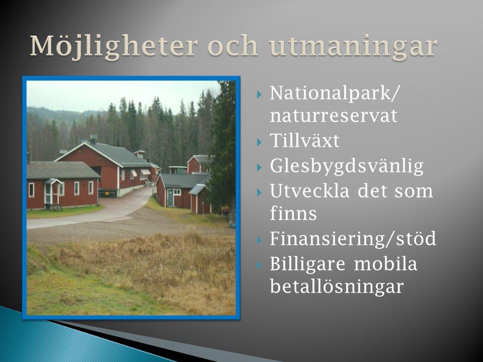  Nationalpark/ naturreservat  Tillväxt  Glesbygdsvänlig  Utveckla det som finns  Finansiering/stöd  Billigare mobila betallösningar
