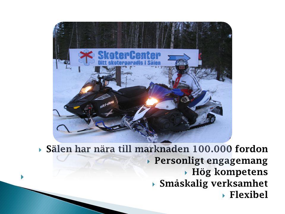  Sälen har nära till marknaden 100.000 fordon  Personligt engagemang  Hög kompetens  Småskalig verksamhet  Flexibel 