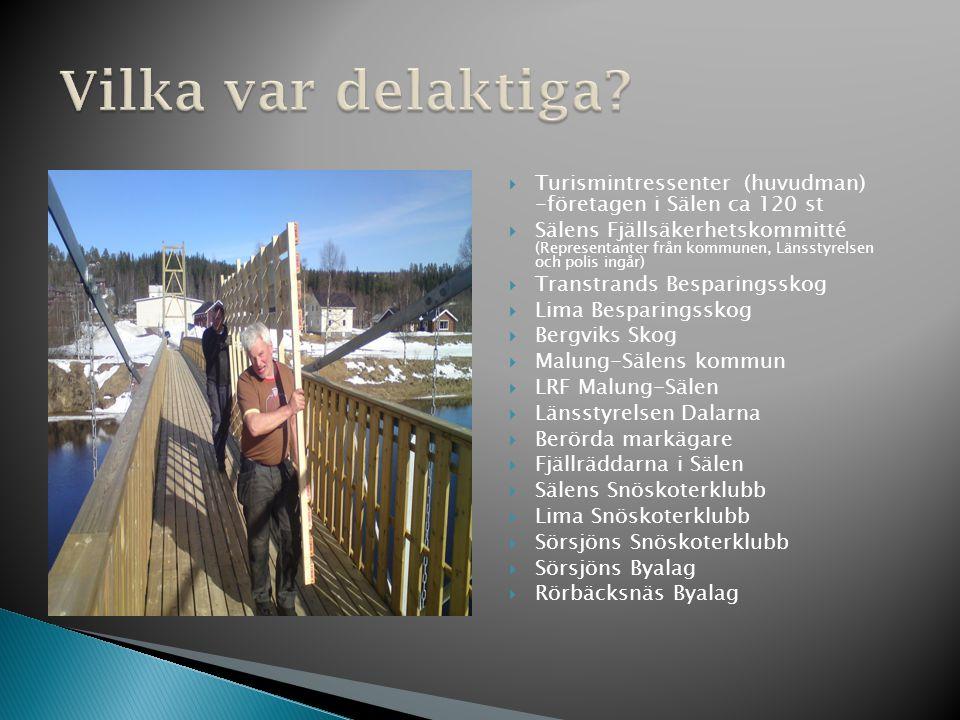  Turismintressenter (huvudman) -företagen i Sälen ca 120 st  Sälens Fjällsäkerhetskommitté (Representanter från kommunen, Länsstyrelsen och polis in