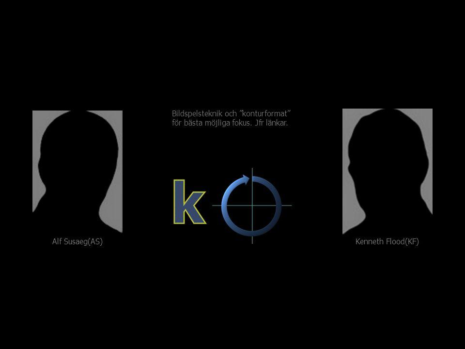 """Kenneth Flood(KF) Alf Susaeg(AS) Bildspelsteknik och """"konturformat"""" för bästa möjliga fokus. Jfr länkar."""