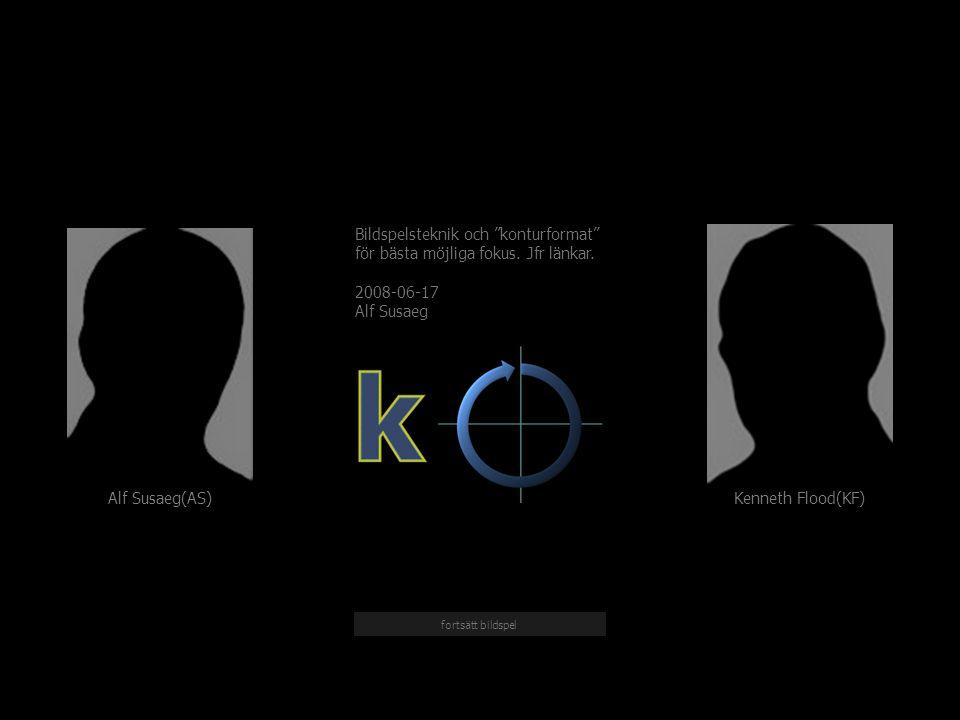 Kenneth Flood(KF) Alf Susaeg(AS) Bildspelsteknik och konturformat för bästa möjliga fokus.