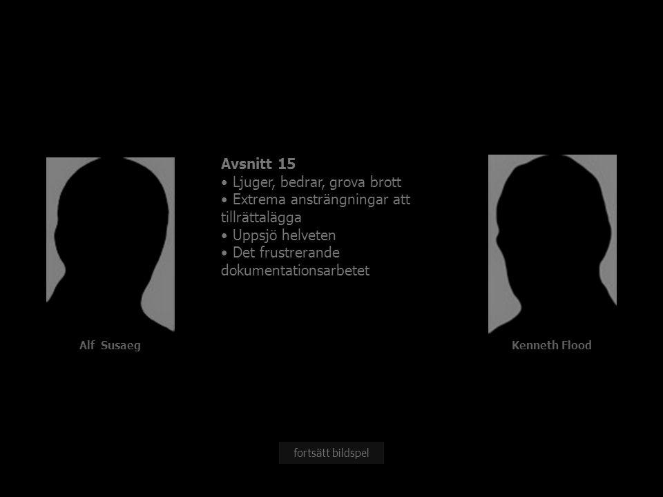 Alf Susaeg Avsnitt 15 Ljuger, bedrar, grova brott Extrema ansträngningar att tillrättalägga Uppsjö helveten Det frustrerande dokumentationsarbetet fortsätt bildspel Kenneth Flood