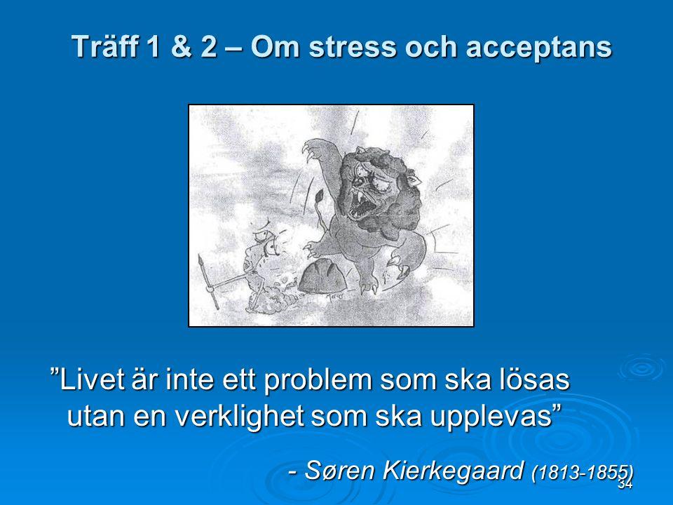 34 Livet är inte ett problem som ska lösas utan en verklighet som ska upplevas Livet är inte ett problem som ska lösas utan en verklighet som ska upplevas - Søren Kierkegaard (1813-1855) Träff 1 & 2 – Om stress och acceptans