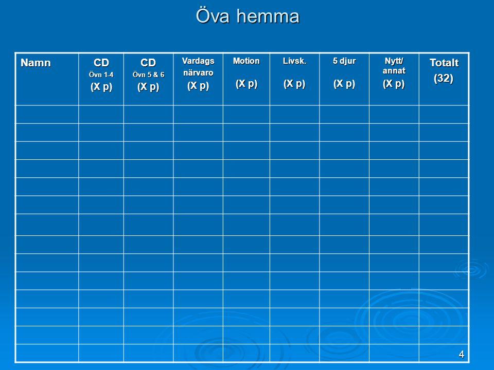 4 Öva hemma NamnCD Övn 1-4 (X p) CD Övn 5 & 6 (X p) Vardagsnärvaro Motion Livsk.