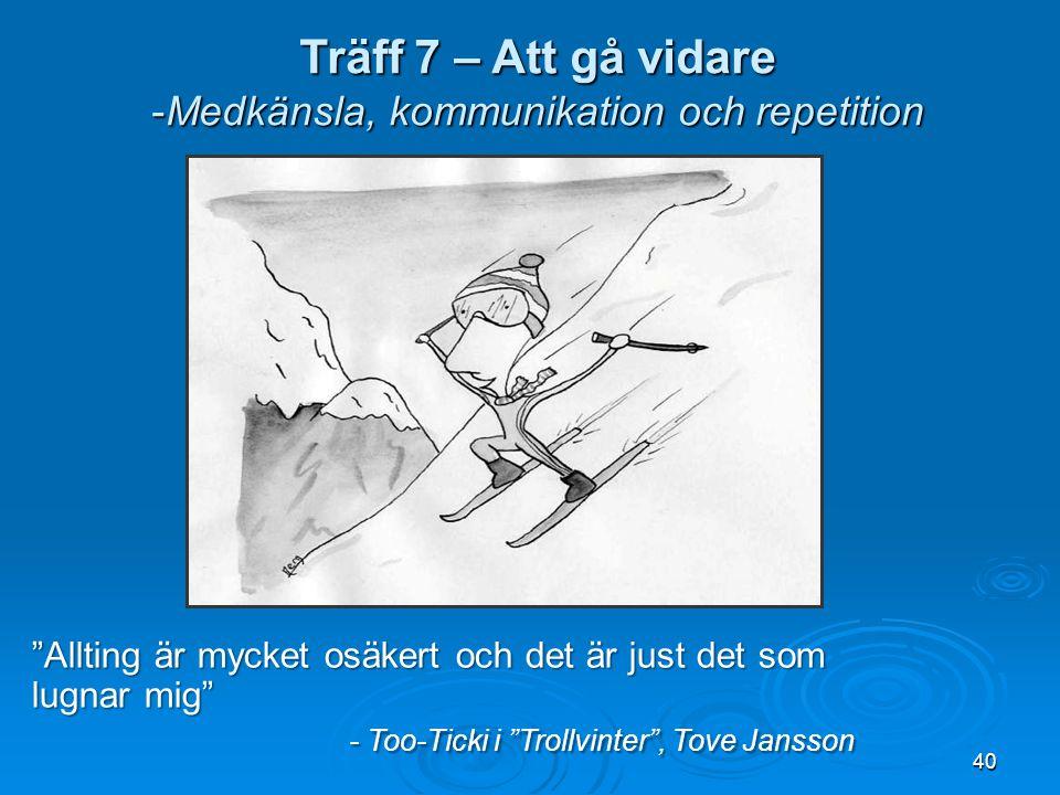 40 Träff 7 – Att gå vidare -Medkänsla, kommunikation och repetition Allting är mycket osäkert och det är just det som lugnar mig - Too-Ticki i Trollvinter , Tove Jansson