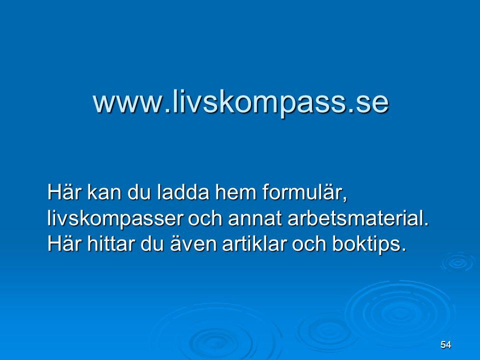 54 www.livskompass.se Här kan du ladda hem formulär, livskompasser och annat arbetsmaterial. Här hittar du även artiklar och boktips.