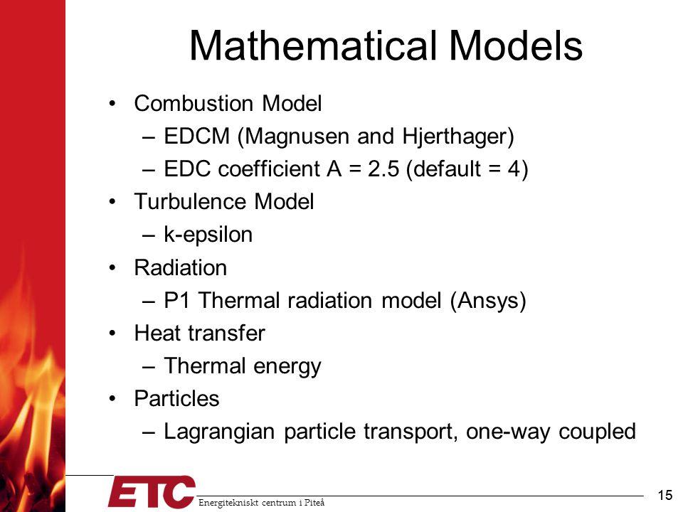 Energitekniskt centrum i Piteå 15 Mathematical Models Combustion Model –EDCM (Magnusen and Hjerthager) –EDC coefficient A = 2.5 (default = 4) Turbulen