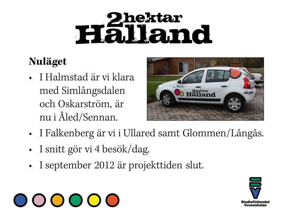 Nuläget I Halmstad är vi klara med Simlångsdalen och Oskarström, är nu i Åled/Sennan.