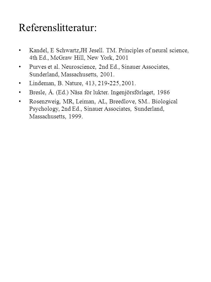 Referenslitteratur: Kandel, E Schwartz,JH Jesell. TM. Principles of neural science, 4th Ed., McGraw Hill, New York, 2001 Purves et al. Neuroscience, 2