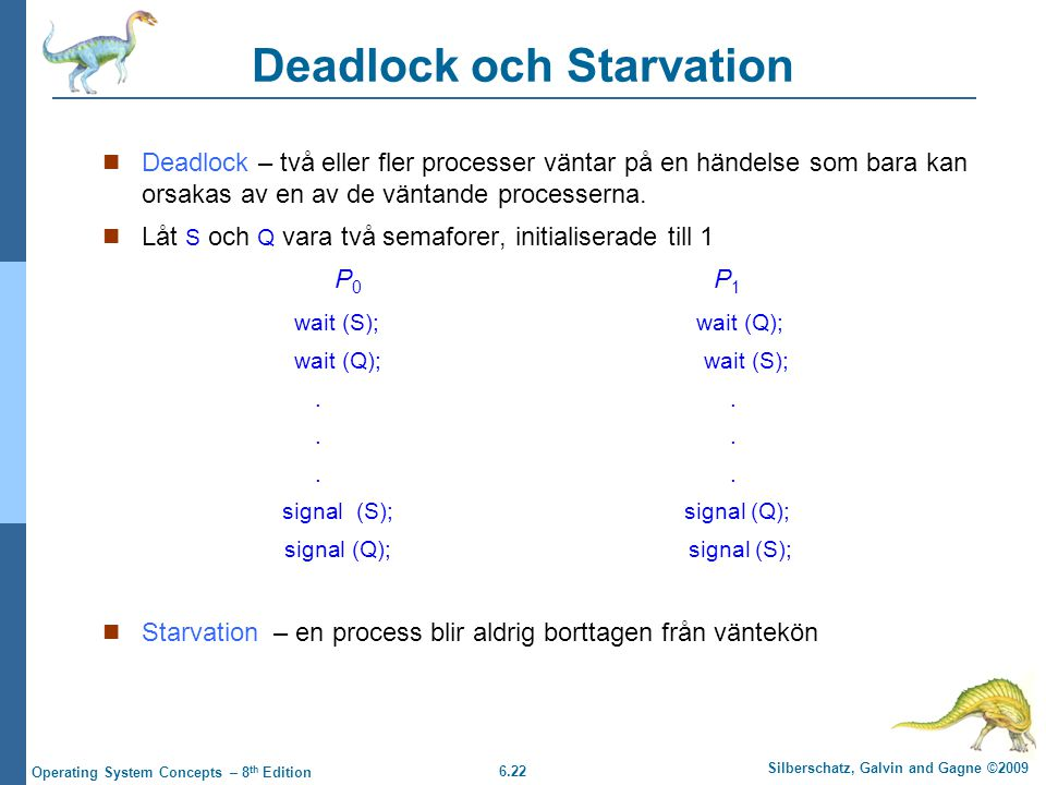 6.22 Silberschatz, Galvin and Gagne ©2009 Operating System Concepts – 8 th Edition Deadlock och Starvation Deadlock – två eller fler processer väntar