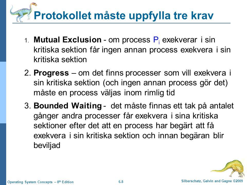 6.8 Silberschatz, Galvin and Gagne ©2009 Operating System Concepts – 8 th Edition Protokollet måste uppfylla tre krav 1. Mutual Exclusion - om process