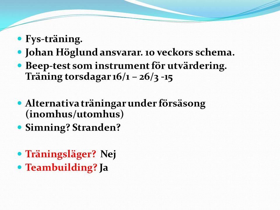 Fys-träning. Johan Höglund ansvarar. 10 veckors schema. Beep-test som instrument för utvärdering. Träning torsdagar 16/1 – 26/3 -15 Alternativa tränin